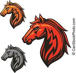 fuego, caballo, semental, heráldico, emblemas