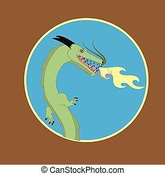 fuego, cabeza, dragón, mascota