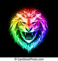 fuego, cabeza, león, colorido