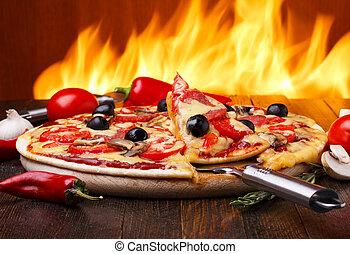 fuego, caliente, horno, plano de fondo, pizza