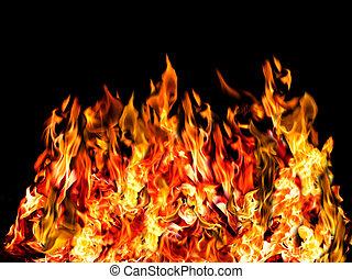 fuego, caliente, negro