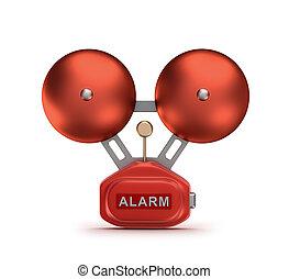 fuego, campanero, alarma, rojo, campana