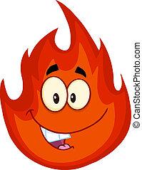 fuego, carácter, caricatura, feliz