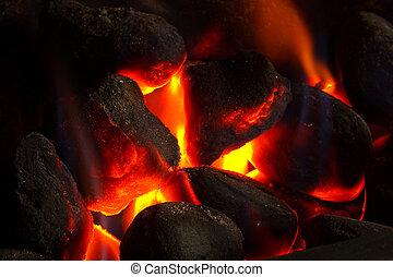 fuego, carbón, imitación