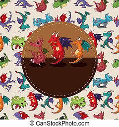 fuego, caricatura, tarjeta, dragón