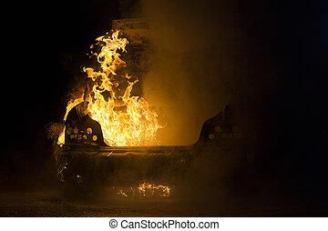 fuego, casi, totalmente, nightshot, vehículo, quemado
