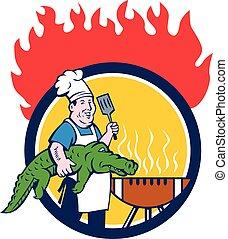 fuego, chef, caimán, espátula, caricatura, parrilla, círculo...