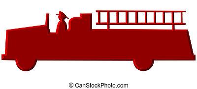 fuego, chromed, camión, rojo, ilustración