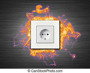 fuego, conector, eléctrico