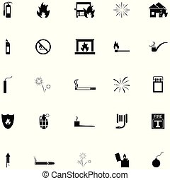 fuego, conjunto, icono