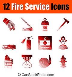 fuego, conjunto, servicio, icono