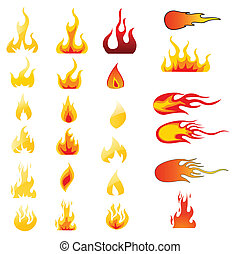 fuego, conjunto, vector, iconos