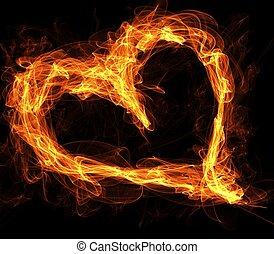 fuego, corazón, llameante, amor