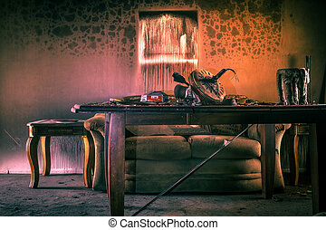 fuego, dañado, muebles