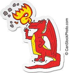 fuego de respiración, pegatina, dragón, caricatura, feliz