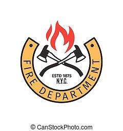 fuego, departamento, hachas, insignia