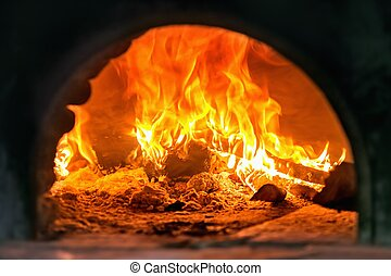 fuego, detalle, tradicional, madera, pizza, italiano, horno