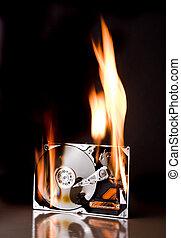 fuego, disco, duro