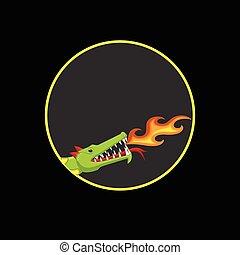 fuego, dragón, cabeza