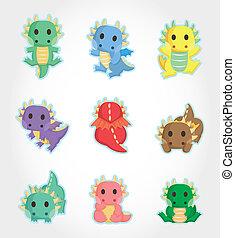 fuego, dragón, conjunto, caricatura, icono