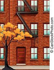fuego, edificio, apartamento, escape