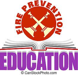 fuego, educación, prevención, señal