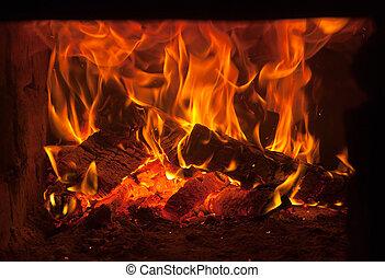 fuego, en, el, horno