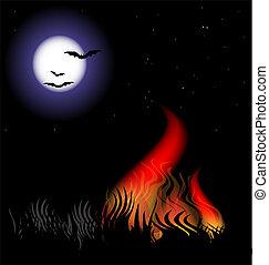 fuego, en, el, noche