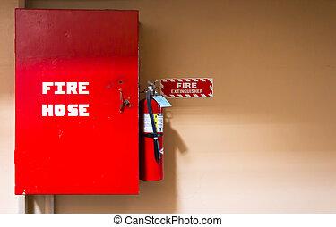 fuego, equipo, manguera, seguridad