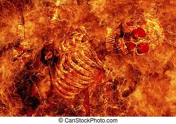 fuego, esqueleto