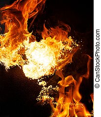 fuego, explosión, aislado, en, fondo negro