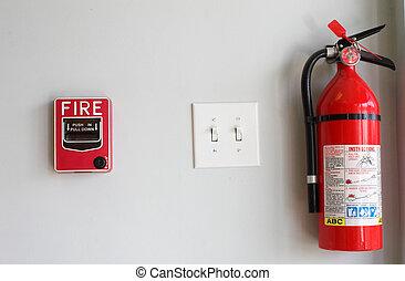 fuego, extiguisher, y, alarma, tirón, caja