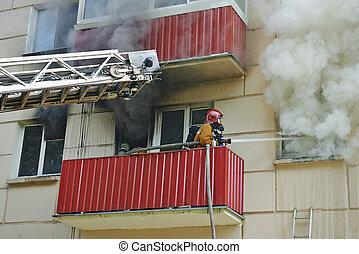 fuego, extinguir, bombero