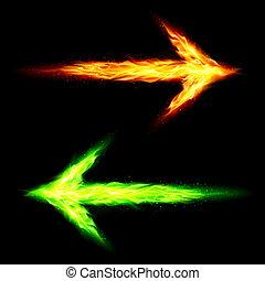 fuego, flechas, dos