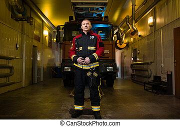 fuego, foto, bombero, camión, plano de fondo, a lo largo