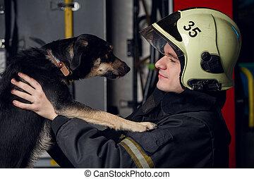 fuego, foto, bombero, perro, camión, hombre