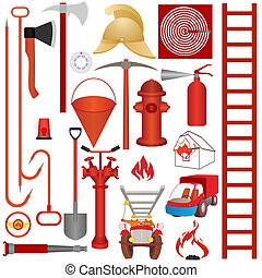 fuego, herramientas, equipo, accessori