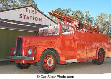 fuego, histórico, camión
