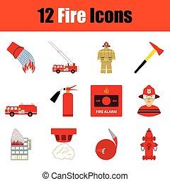 fuego, icono, conjunto