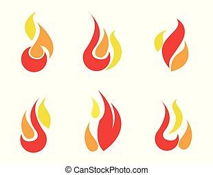 fuego, iconos, conjunto, vector