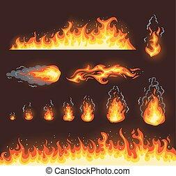 fuego, ilustraciones, vector, colección