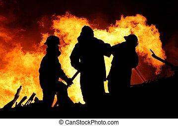 fuego, inmenso, luchadores, llamas