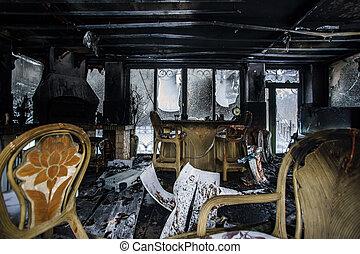 fuego, interior, dañado, detalles