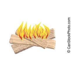 fuego, isolated., tablas, llamas, blanco, campo, troncos, ...