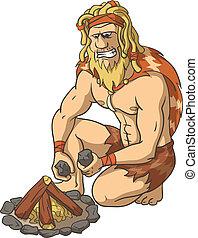 fuego, kindles, primitivo, hombre