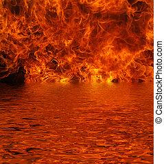 fuego, lago