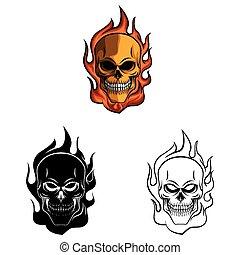 fuego, libro colorear, cráneo, caracter