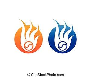fuego, logotipo, caliente, logotipo, y, símbolos, plantilla, iconos