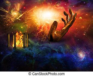 fuego, mano, templo, tiempo