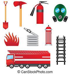 fuego, objects., conjunto, prevención